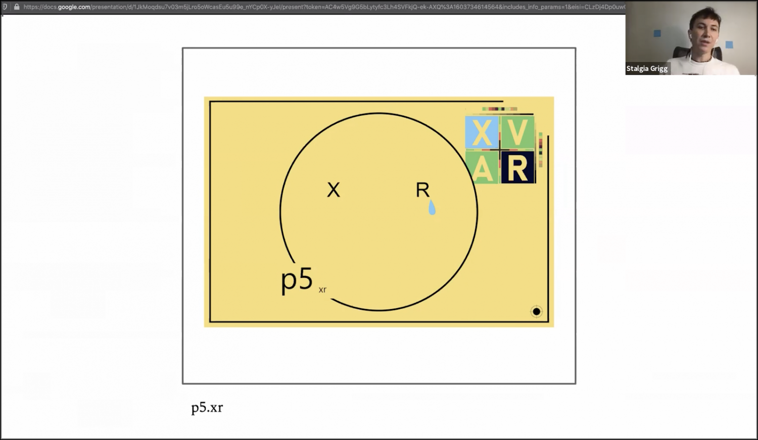 Slide with yellow p5.xr screen, X and R positioned like eyes in a circle with a tear dripping from the R