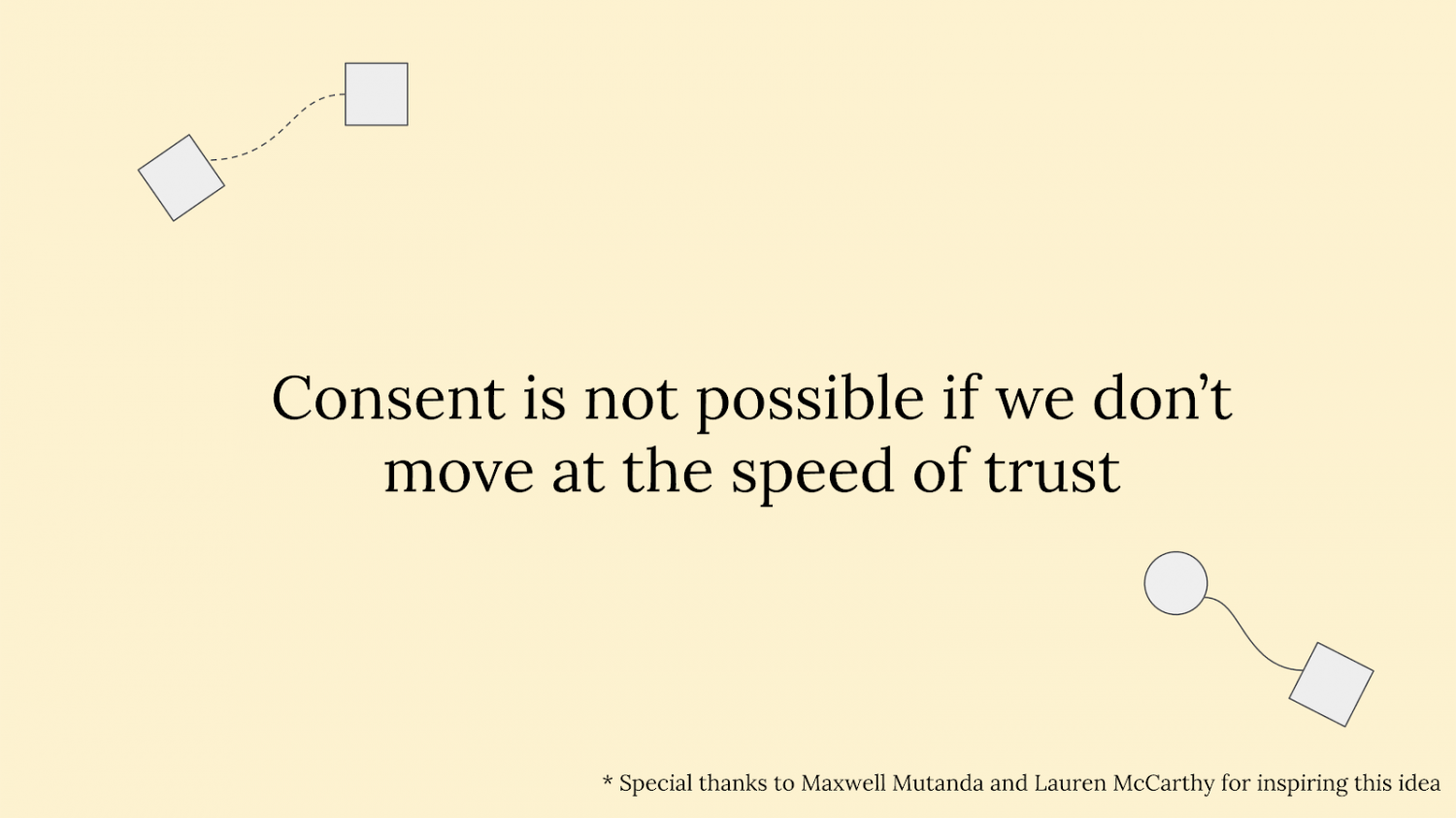 """Slide reading """"Consent is not possible if we don't move at the speed of trust"""" with circles and squares connected via wavy lines"""