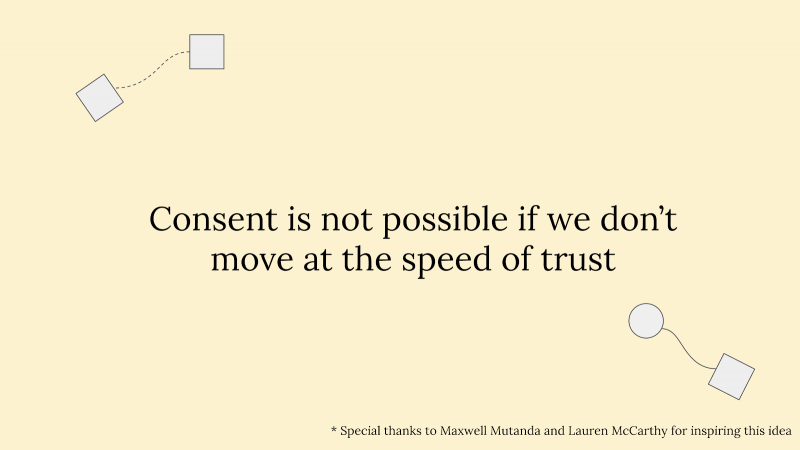"Slide reading ""Consent is not possible if we don't move at the speed of trust"" with circles and squares connected via wavy lines"