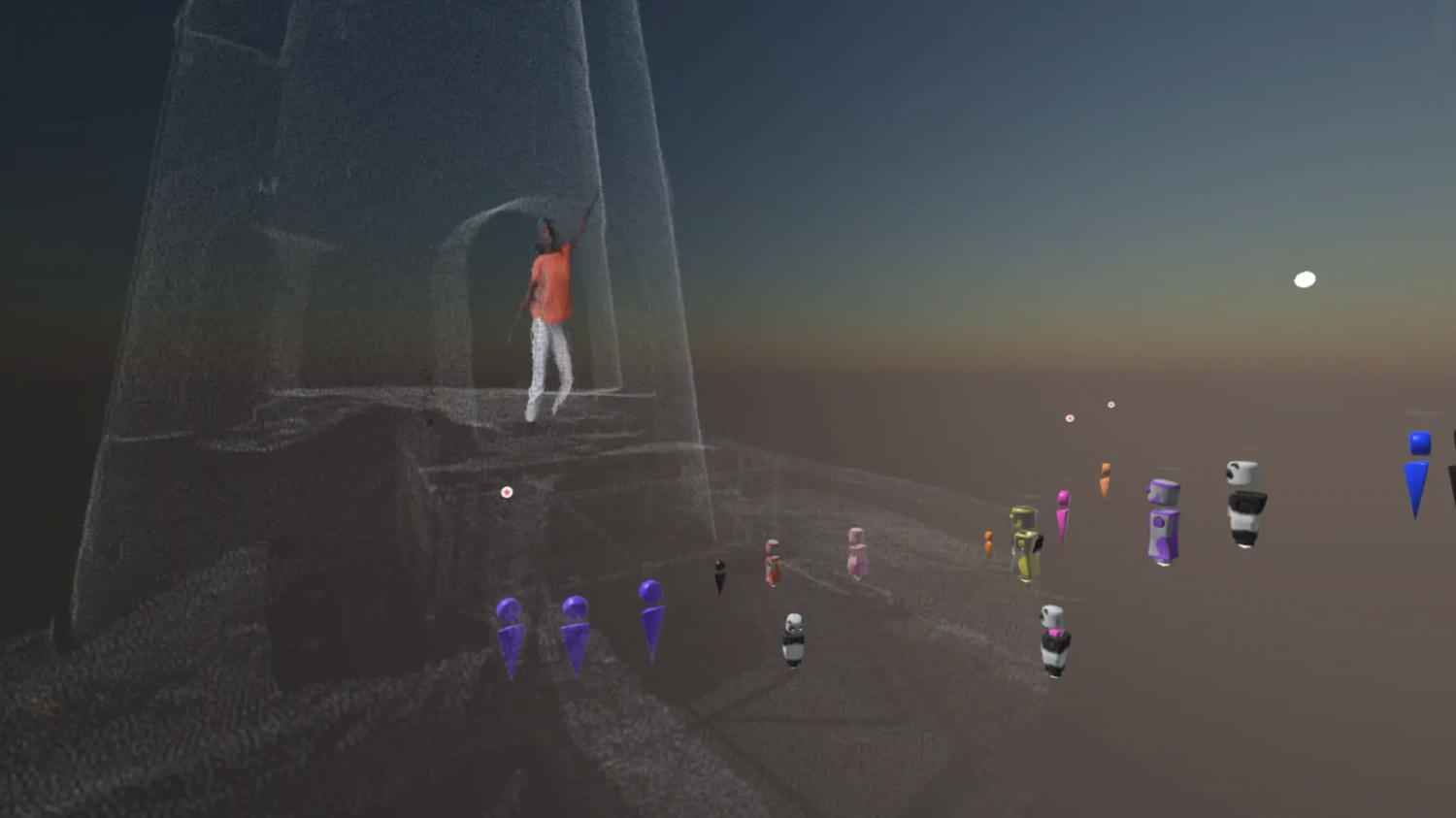3D representation of Valencia dances on white platform structure while avatars watch