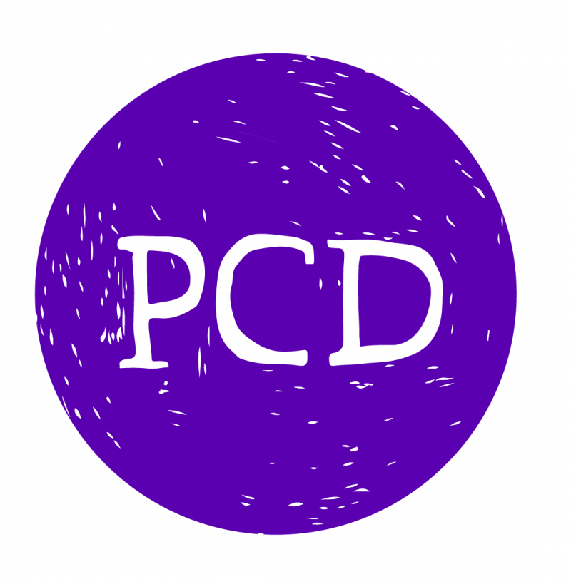 A purple circle with small white streaks and the letter PCD