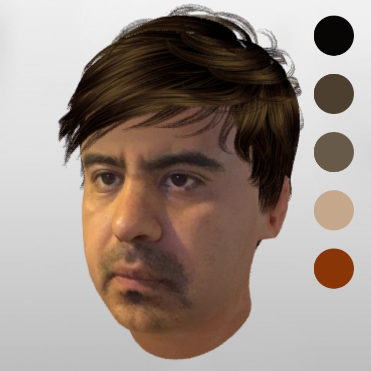 A computer generated head of a person looking to the left in front of a white gradient screen. There are the five dots on the right with different colors.