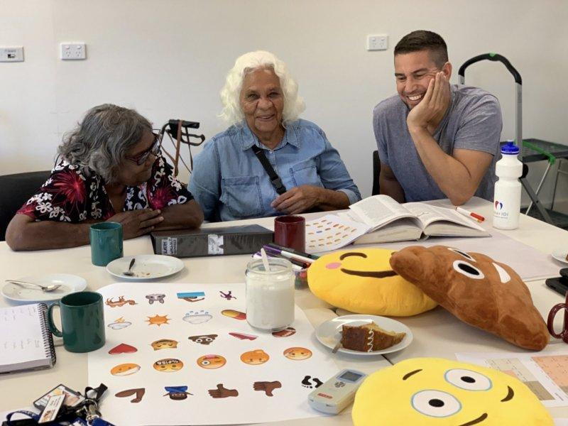 Emoji bosses Kathleen Kemarre Wallace, Veronica Perrule Dobson and Joel Liddle Perrule.